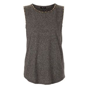 Topshop Gray Tank Top With Gold Studs